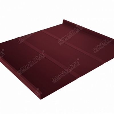 Картинка товара Фальцевая кровля Grand Line Фальц двойной стоячий Line Satin 0,5 мм RAL 3005 (красное вино)