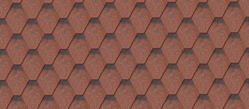 Картинка товара Гибкая черепица IKO Superglass Hex Tile Red